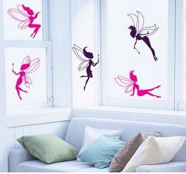 Vinilos decorativos hadas volando fucsia rosa ni as jm052 - Vinilos decorativos ninas ...