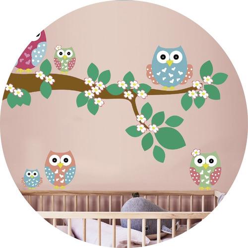 vinilos decorativos infantil  buhos  rama