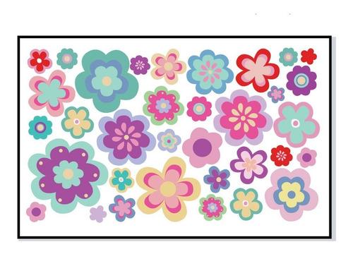 vinilos decorativos infantil  flores colores niñas