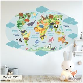 Mapa Del Mundo Infantil.Vinilos Decorativos Infantiles Mapas Planisferio Mundo Med A
