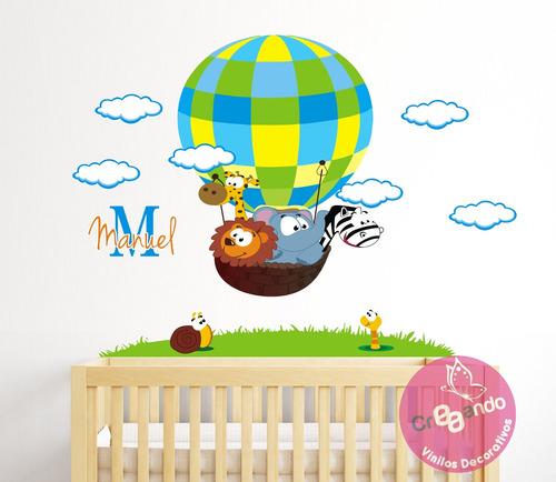 vinilos decorativos jungla en globo + nombre personalizado