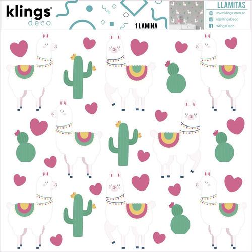 vinilos decorativos llamas corazones cactus trama llamitas
