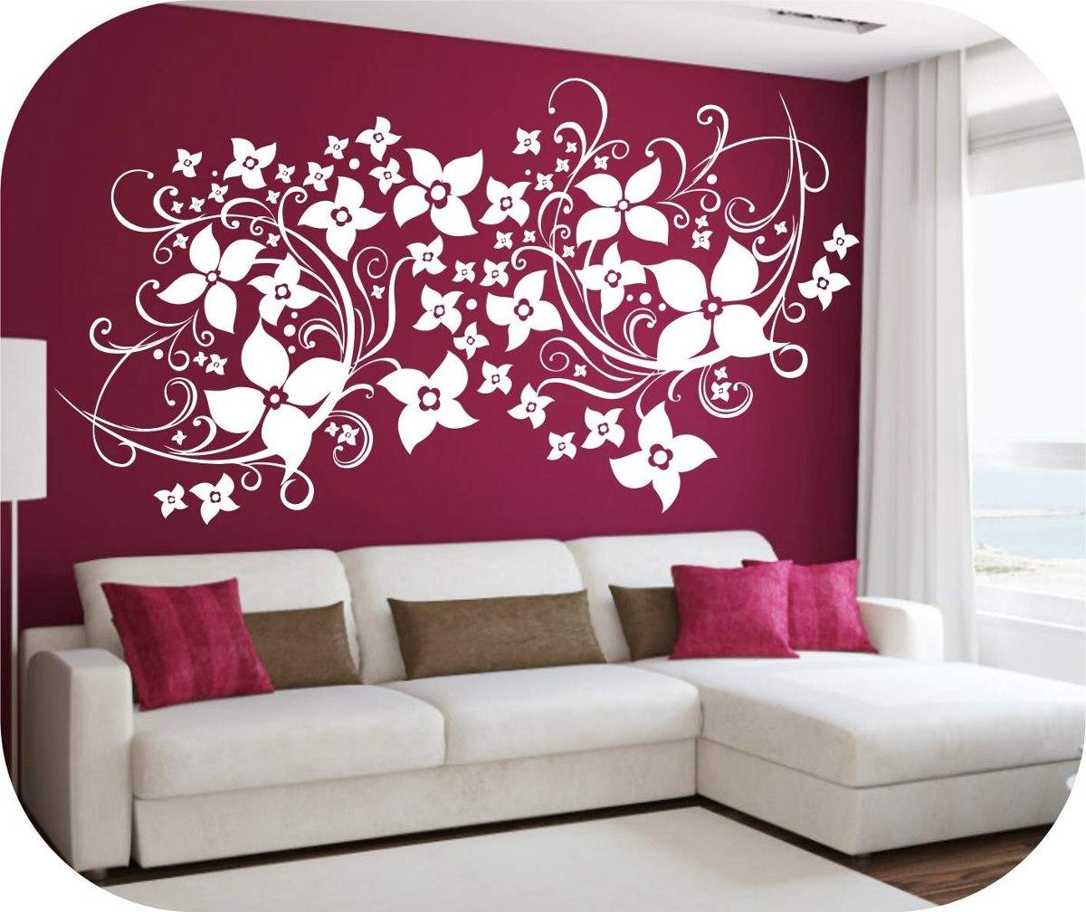Vinilos decorativos motivo florales y mariposas salas for Calcomanias para decorar habitaciones