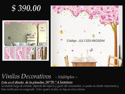 vinilos decorativos múltiples 4 laminas - árbol flores