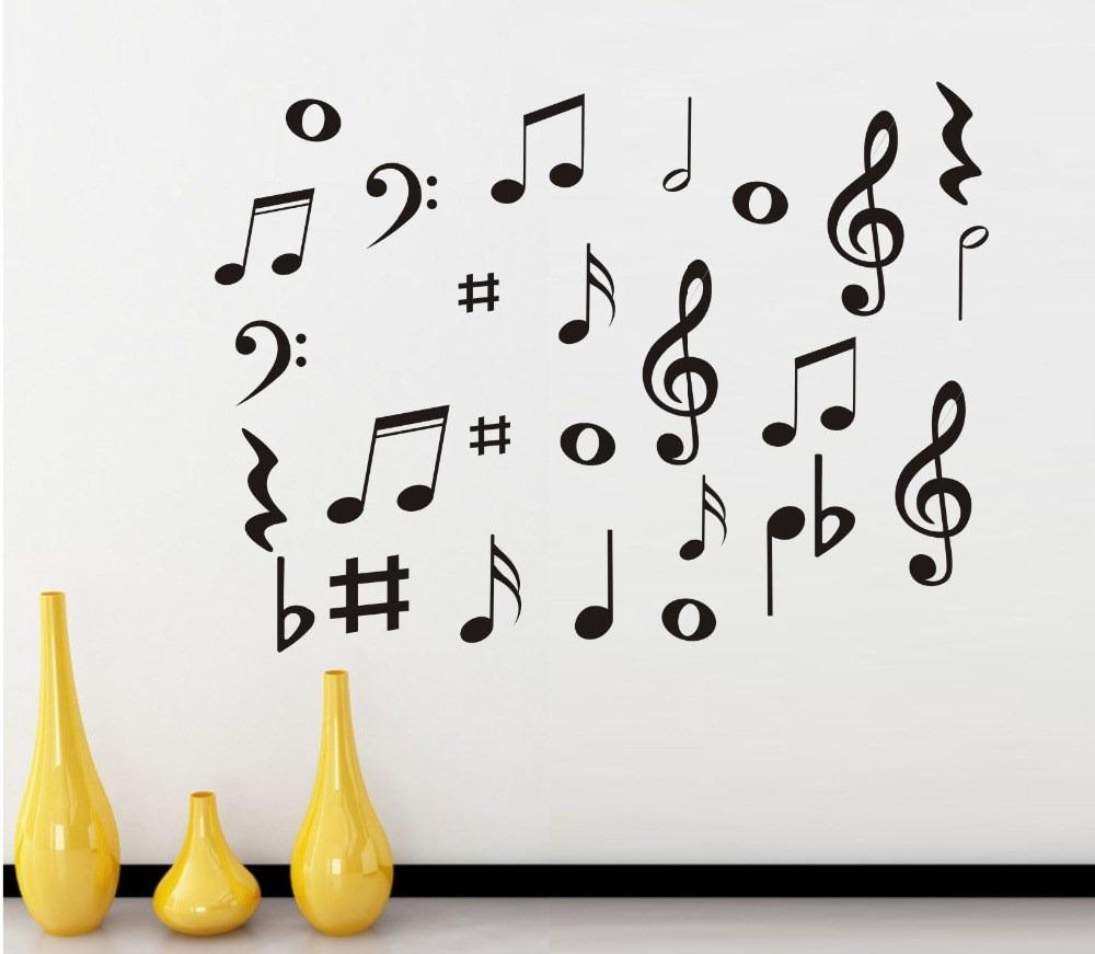 Vinilos decorativos notas musicales recamaras salas for Vinilos decorativos pared musicales