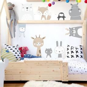 Vinilos Decorativos Para Pared Infantil Animales Nórdicos X 10 Uni Cuarto  Bebe Girafa Hipopotamo Oso Zorroconejo Gatito