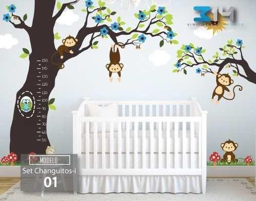 Vinilos decorativos para tu beb sticker arbol y changuitos 2 en mercado libre - Decoracion habitacion bebe vinilos ...