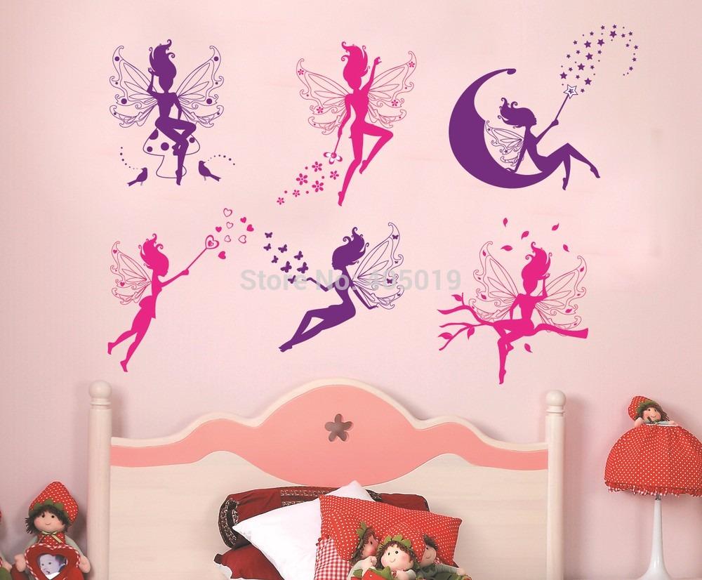 Vinilos decorativos pared hadas lunas rosas y violeta for Stickers para decorar paredes