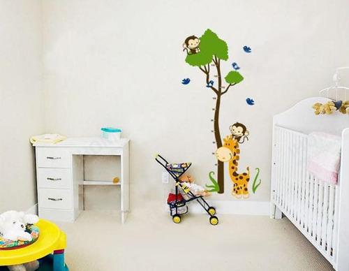 vinilos decorativos pared monos jirafas medidor jm7132