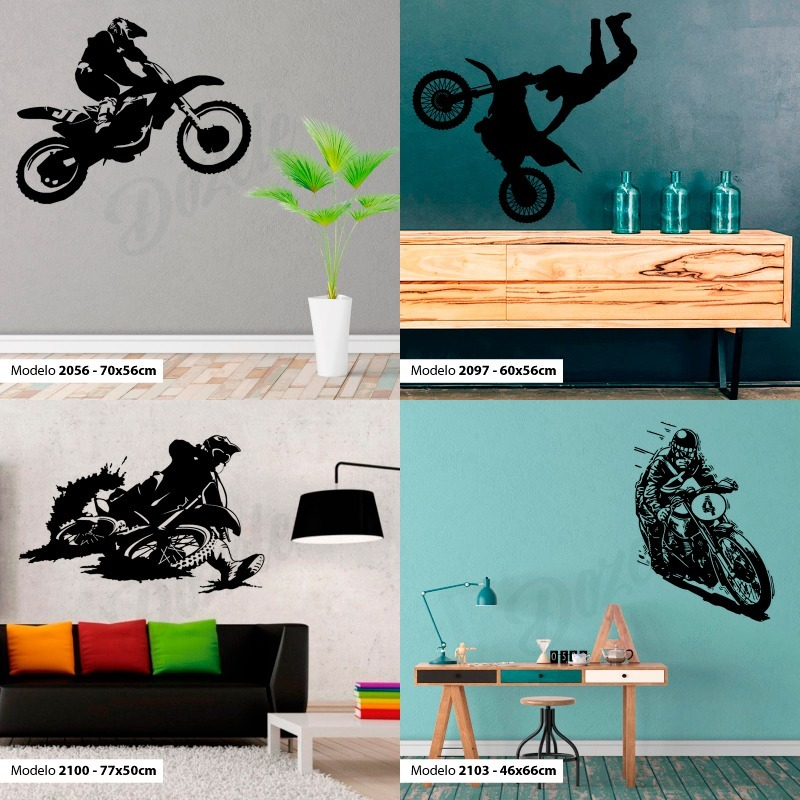 Vinilos Decorativos Motocross.Vinilos Decorativos Pared Motos Carrera Gp Motocross Bandera