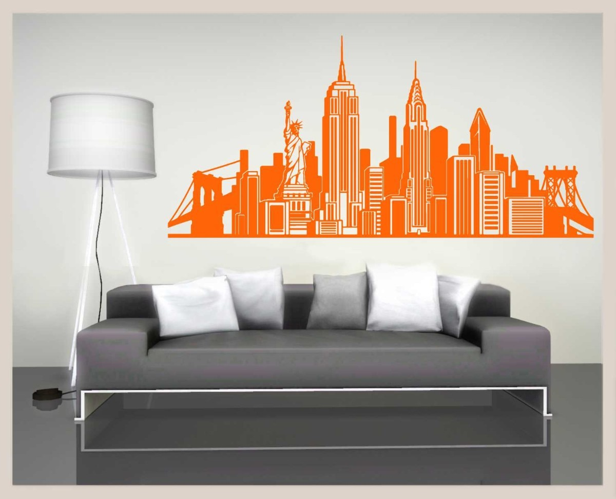 Vinilos decorativos skyline de new york grande paredes for Vinilos pared grandes