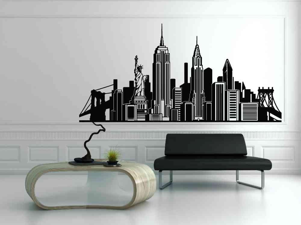 Vinilos decorativos skyline de new york grande paredes for Vinilos pared new york
