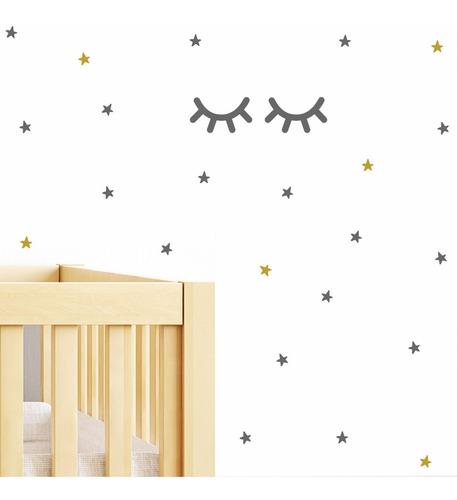 vinilos decorativos sleepy eyes ojos cerrados estrellas graffiti