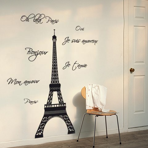 Vinilos Decorativos Torre Eiffel Paris Frases