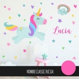 Vinilos Decorativos Unicornio Arcoiris Cuarto Niña 80x80cm