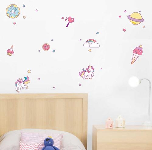 vinilos decorativos  unicornio arcoiris estrellass