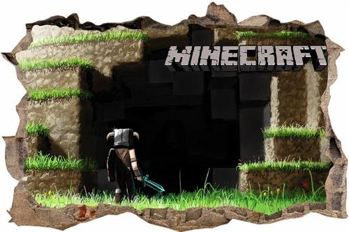 vinilos efecto 3d hueco pared minecraft - 1m x 60cm