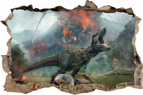 vinilos efecto pared rota dinosaurios - cali - 1m x 60cm