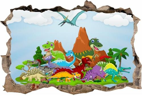 vinilos efecto pared rota dinosaurios infantiles - cali