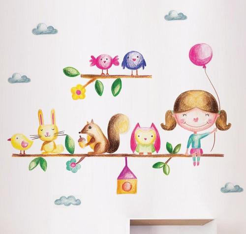 vinilos infantiles stickers linda wall decoración nena rama