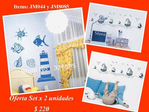 vinilos set x 2 pc.- barcos y faros - niños ideal casa playa