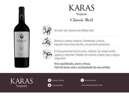 vino karas classic red blend pack x 6 unidades