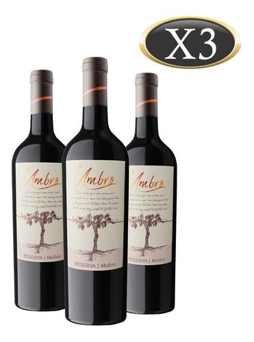 vino malbec reserva umbro x 3 botellas de 750 ml