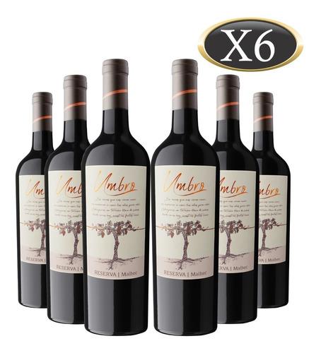vino malbec reserva umbro x 6 botellas de 750 ml