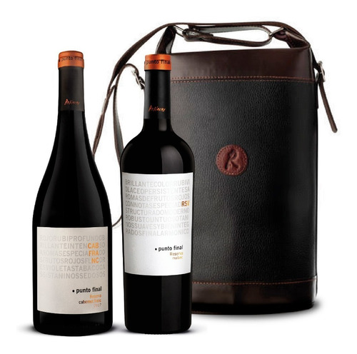 vino punto final reserva set 2 botellas + bolso de cuero
