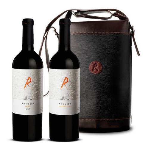 vino renacer malbec icono set 2 botellas + bolso de cuero