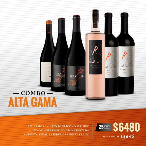vino renacer mix alta gama 6 botellas