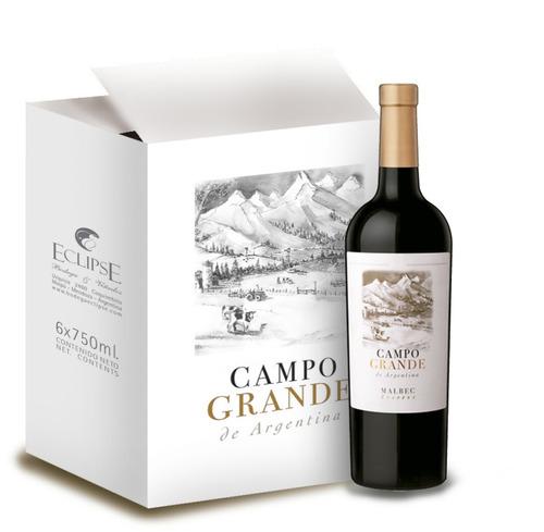 vino reserva- campo grande malbec- caja x 6 botellas