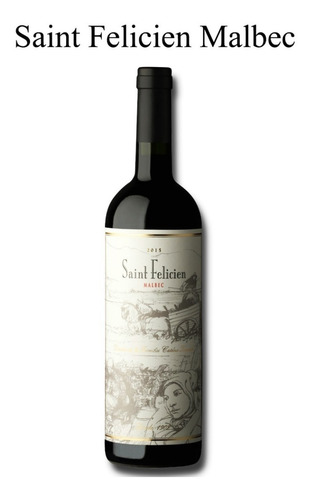 vino saint felicien malbec 750ml caja x6 pack 6 botellas