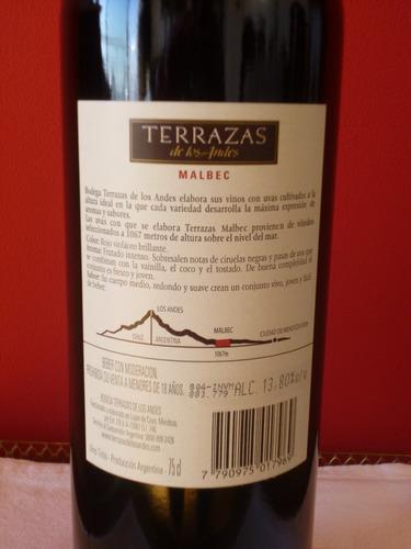 vino terrazas de los andes malbec 2007 c/ lata