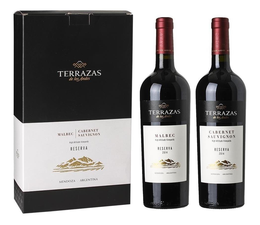 Vino Terrazas Reserva Estuche Malbec Y Cabernet Duo 2 Botell