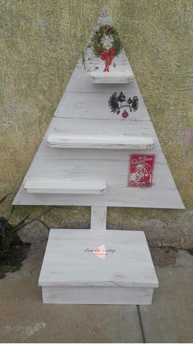 vintage arbol navidad madera  tamaño real elige color y deco