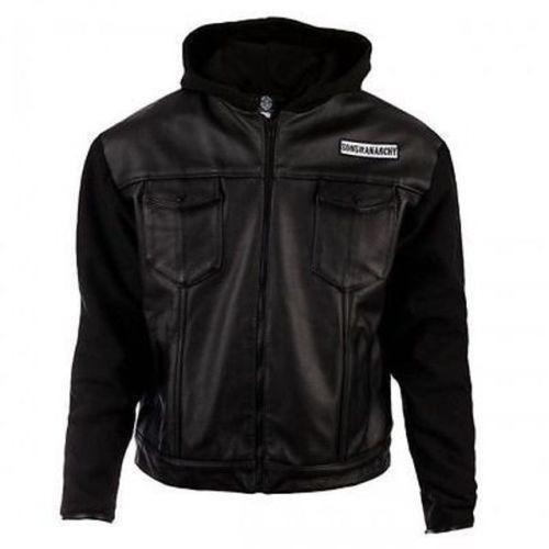 vintage biker style soa hooded real leather jacket