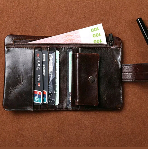 vintage billetera cuero genuino monedero tarjetero mens a1
