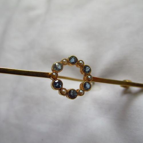 vintage broche de piedras preciosas, perlas y oro