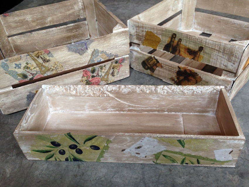Vintage cajas de madera decoradas a mano diferentes - Cajas de vino de madera decoradas ...