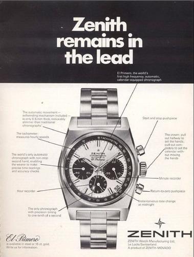 vintage cronógrafo zenith el primeiro 1972 - de museu