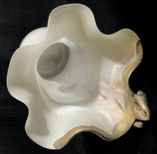 vintage diseño vaso hierro y vidrio grueso satinado blanco
