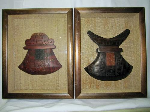 vintage esculturas de madera de africa dentro de caja-vidrio