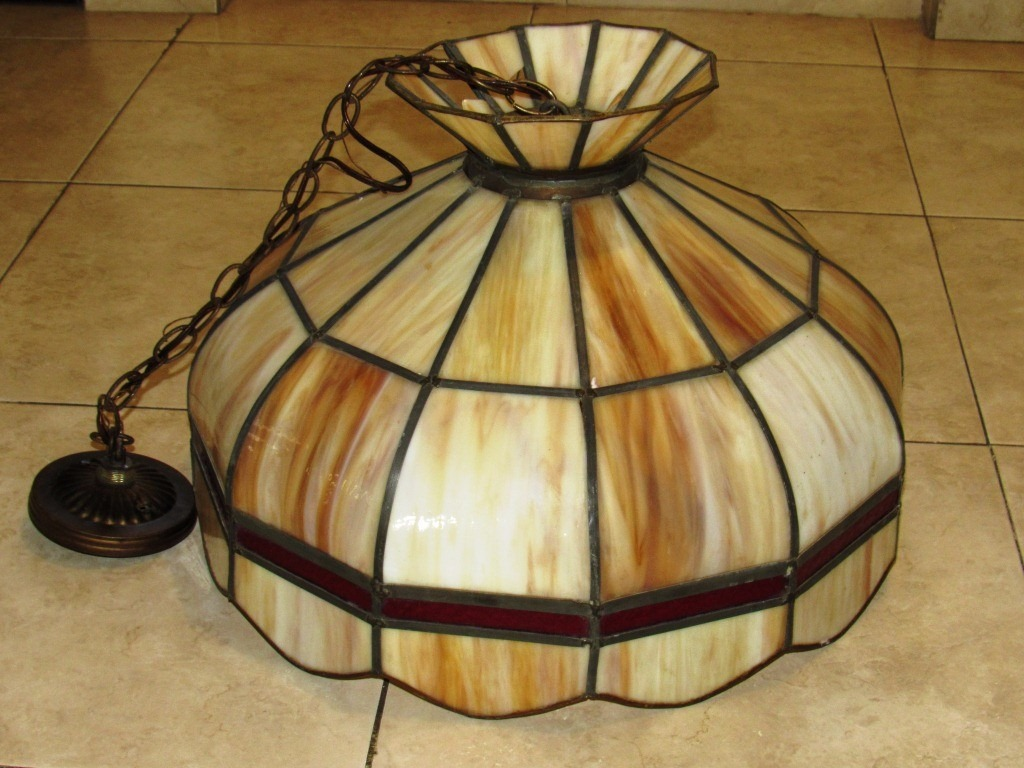 Vintage lampara de techo grande cristal de vitral for Lampara techo grande