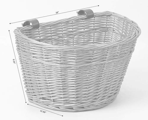 vintiquewise - cesta de mimbre frontal para bicicleta con