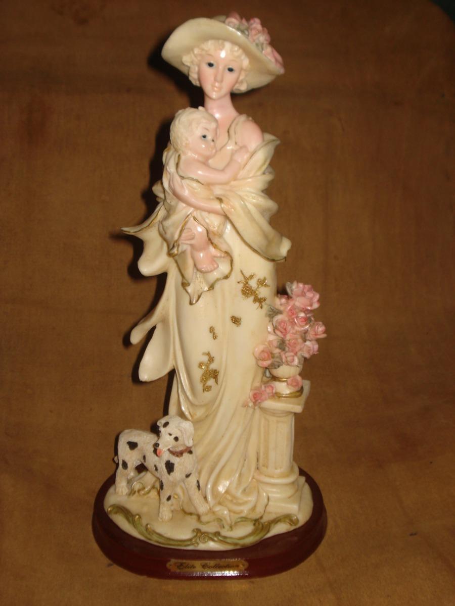 Vintretro Escultura Decorativa Dama De Epoca Con Nino S 10000 - Escultura-decorativa