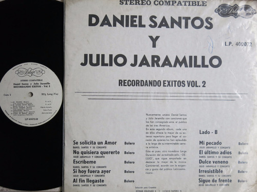 vinyl vinilo lp acetato julio jaramillo recordando vol 2