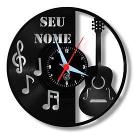 Violão Notas Musicais Personalizado Nome Disco Relógio Disco