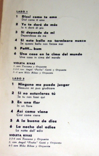 violeta rivas canciones del festival san remo 66 lp argentin