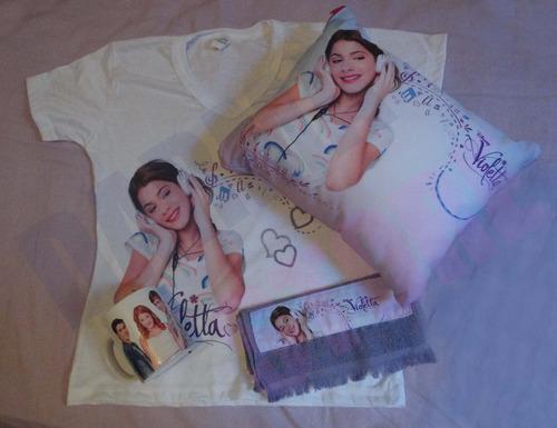violetta kit camiseta, almofada, toalhinha, caneca, bolsa +